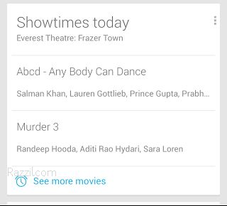 Google Now Movies Card India